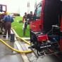 Generador Honda EC 5000 con los bomberos durante el incendio en Greens
